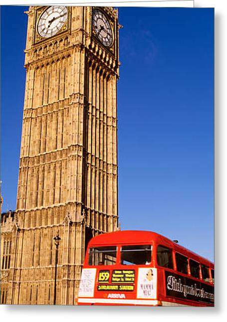 Double Decker Greeting Cards - Big Ben, London, United Kingdom Greeting Card by Panoramic Images