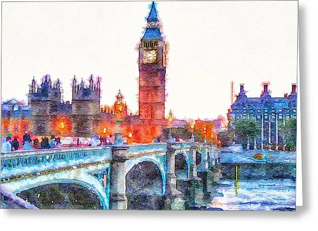 Live Art Greeting Cards - Big Ben over the bridge Greeting Card by Yury Malkov