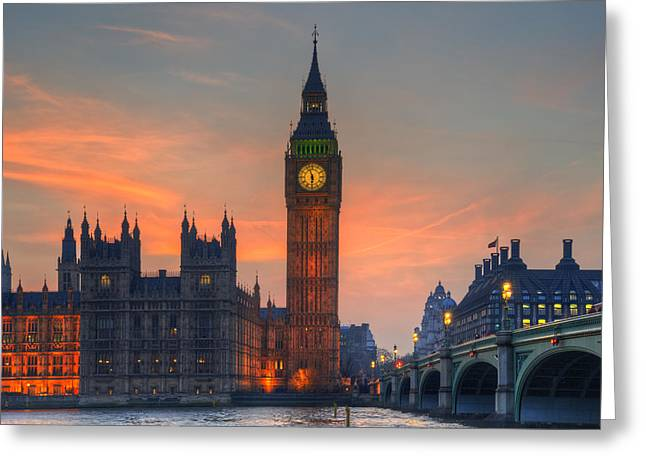Big Ben Parliament And A Sunset Greeting Card by Matthew Gibson