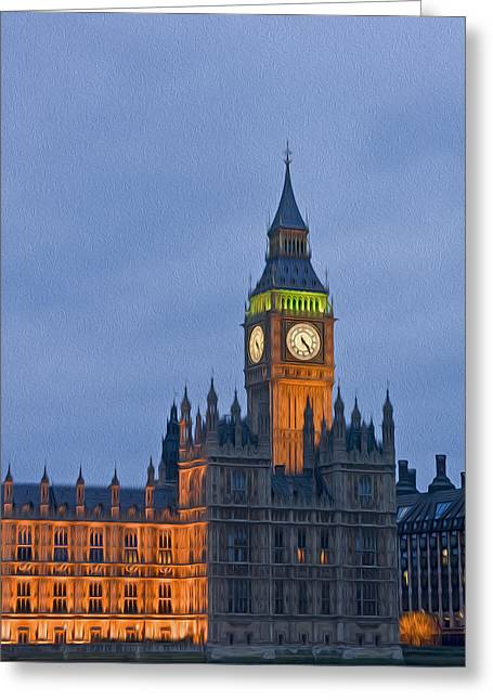Kate Middleton Greeting Cards - Big Ben Parliament Wesminster London digital painting Greeting Card by Matthew Gibson