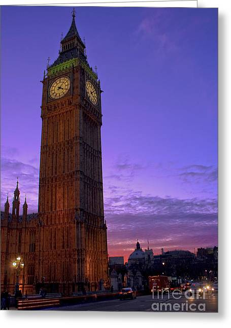 Terri Waters Greeting Cards - Big Ben Twilight in London Greeting Card by Terri  Waters