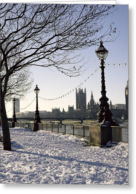 The South Photographs Greeting Cards - Big Ben Westminster Abbey and Houses of Parliament in the Snow Greeting Card by Robert Hallmann