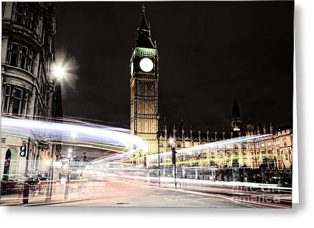 Best Sellers -  - Light And Dark Greeting Cards - Big Ben with Light Trails Greeting Card by Jasna Buncic