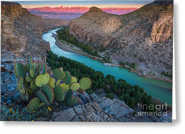 Del Rio Texas Greeting Cards - Big Bend Evening Greeting Card by Inge Johnsson