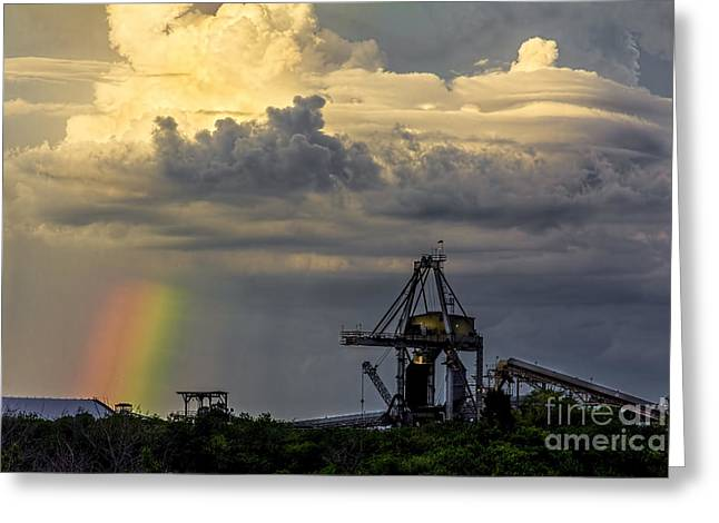 Dark Clouds. Greeting Cards - Big Bend Rainbow Greeting Card by Marvin Spates