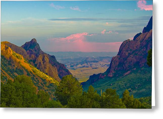 Digital Photography Greeting Cards - Big Bend Texas from the Chisos Mountain Lodge Greeting Card by Gary Grayson