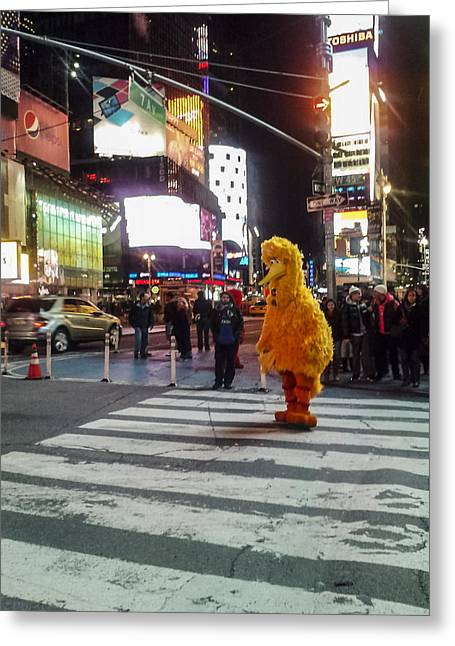 Sesame Street Greeting Cards - Big Bird on Times Square Greeting Card by Scott Campbell