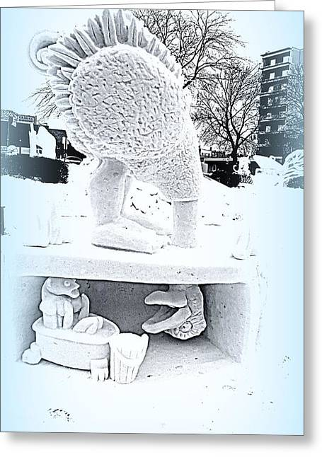 Sesame Street Greeting Cards - Big Bird Snow Sculpture Greeting Card by Kay Novy