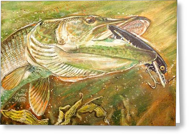 Muskie Greeting Cards - Big bite Greeting Card by Charles Weiss