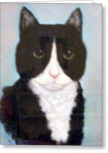 Pat Mchale Greeting Cards - Big Black Cat Greeting Card by Pat Mchale
