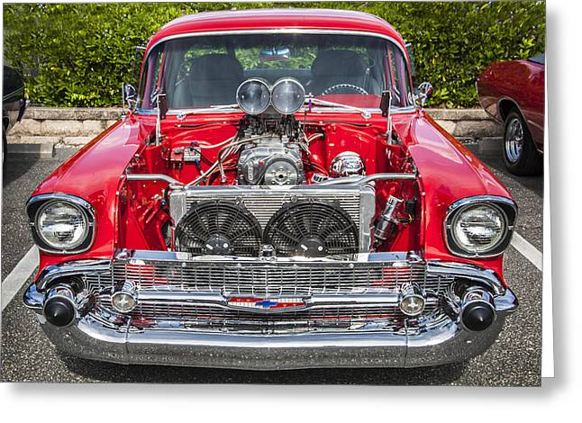 Car Racer Greeting Cards - Big Block 57 Chevy Greeting Card by Rich Franco