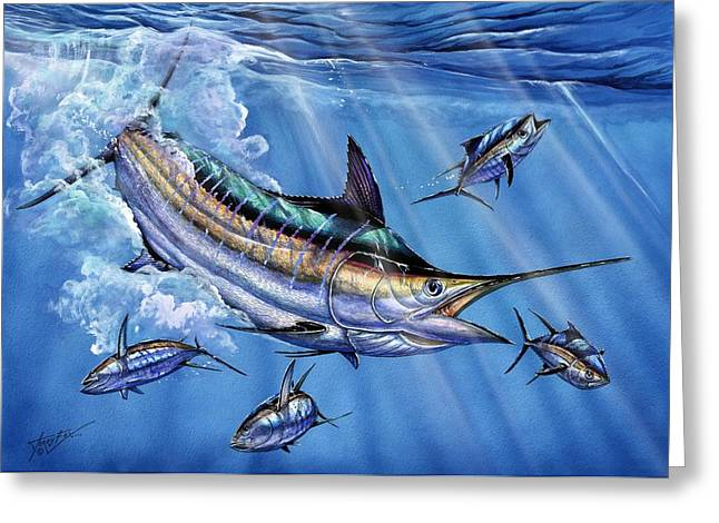 Terry Greeting Cards - Big Blue And Tuna Greeting Card by Terry Fox