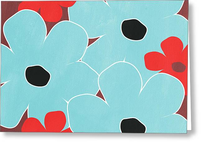 Red Flowers Greeting Cards - Big Blue Flowers Greeting Card by Linda Woods