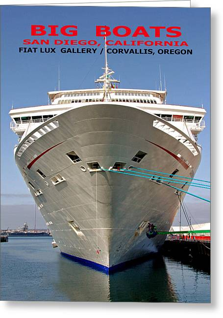 San Diego Harbor Cruise Greeting Cards - Big Boats Greeting Card by Mike Moore FIAT LUX