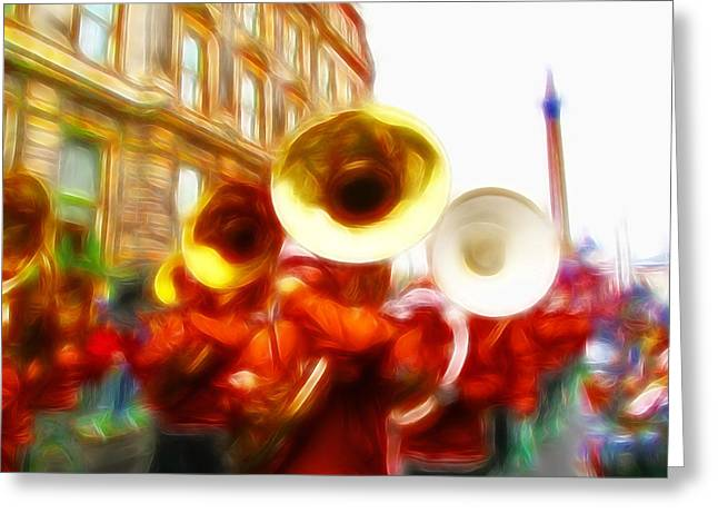 Marching Band Greeting Cards - Big Brass Band Greeting Card by Sharon Lisa Clarke