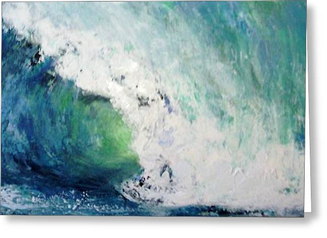 Abstract Waves Greeting Cards - Big Break Greeting Card by Frances Marino