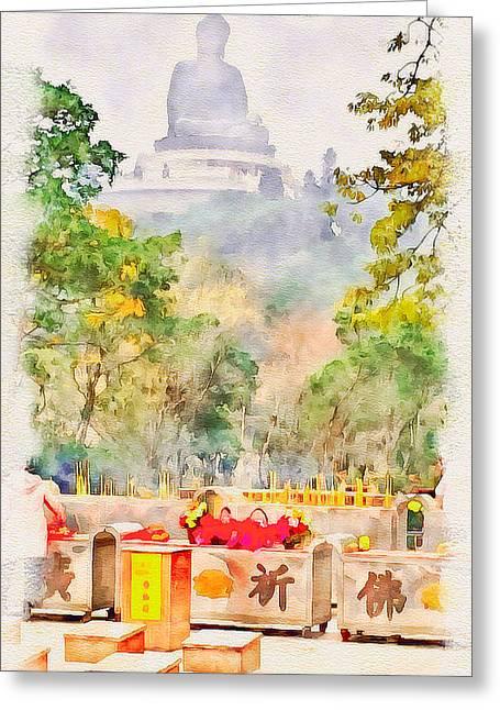 Live Art Greeting Cards - Big Buddha 1 Greeting Card by Yury Malkov
