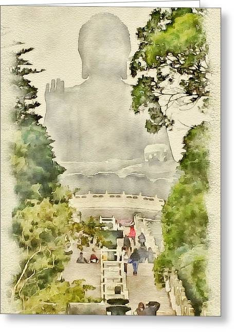 Live Art Greeting Cards - Big Buddha 2 Greeting Card by Yury Malkov