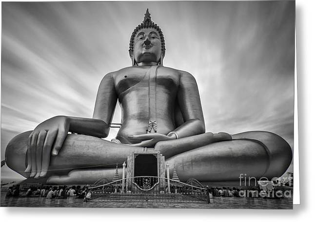 Unseen Greeting Cards - Big buddha Greeting Card by Anek Suwannaphoom
