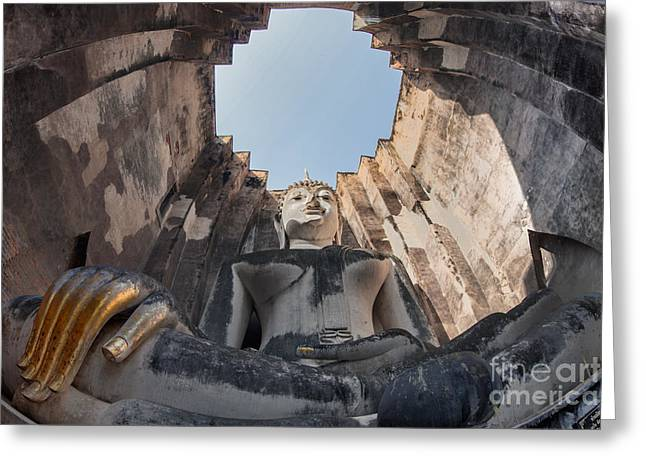 Reflex Greeting Cards - Big Buddha at Wat Sri Chum Sukothai  Greeting Card by Anek Suwannaphoom