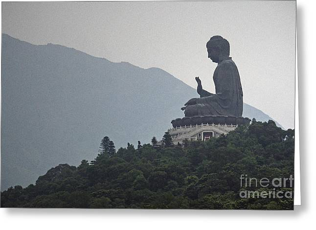 No People Photographs Greeting Cards - Big Buddha in Hong Kong Greeting Card by Lars Ruecker