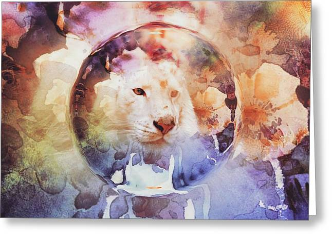 Grunge Greeting Cards - Big Cat Bubble Grunge Greeting Card by Cassie Peters