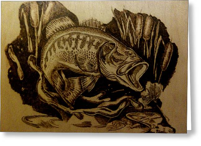 Fin Pyrography Greeting Cards - Big Catch Greeting Card by Dale Bradley