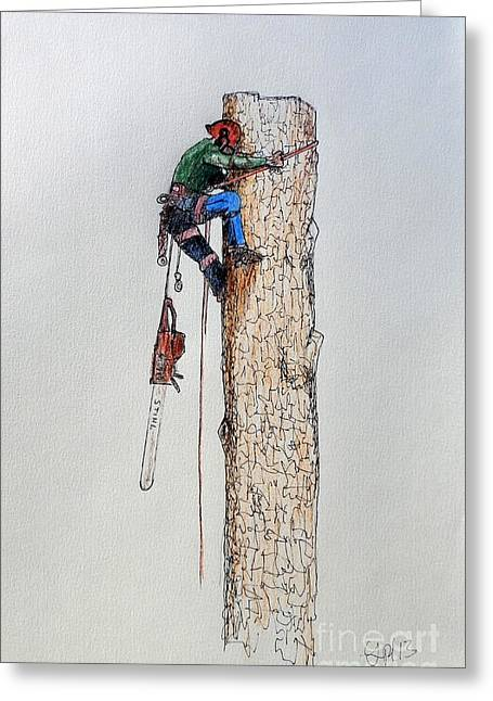 Recently Sold -  - Saw Greeting Cards - Big chainsaw needed for a big tree Husqvarna stihl Greeting Card by Gordon Lavender