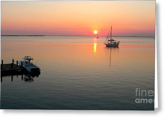 Docked Sailboat Greeting Cards - Big Chill Sunset Greeting Card by Carey Chen