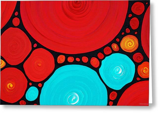Frame House Mixed Media Greeting Cards - Big Circles - Abstract Art By Sharon Cummings Greeting Card by Sharon Cummings