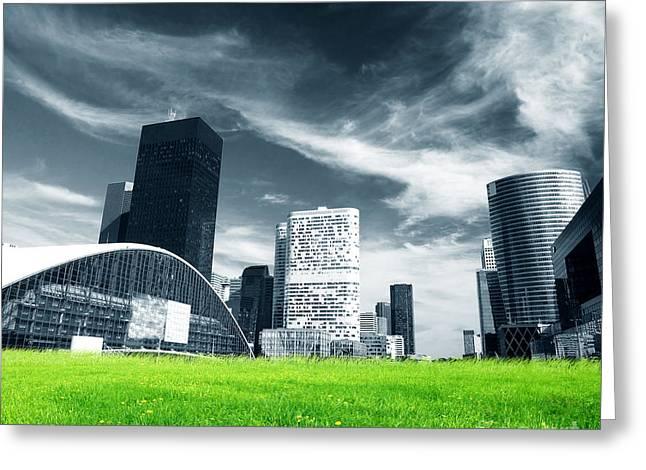 Big City And Green Fresh Meadow Greeting Card by Michal Bednarek