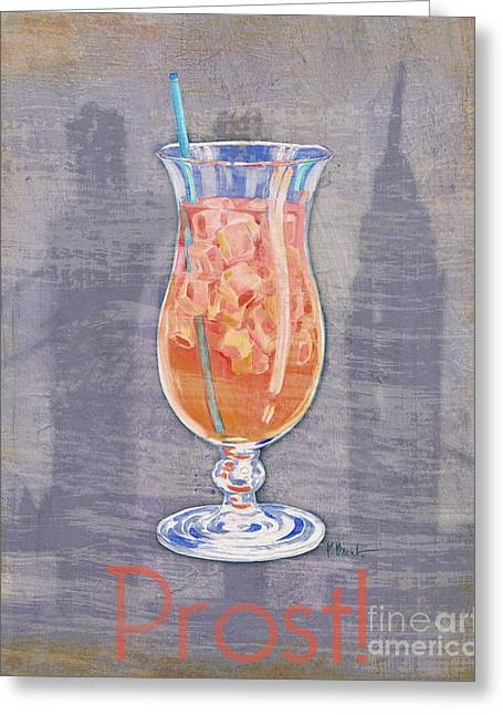 Cocktail Greeting Cards - Big City Cocktails Singapore Sling Greeting Card by Paul Brent