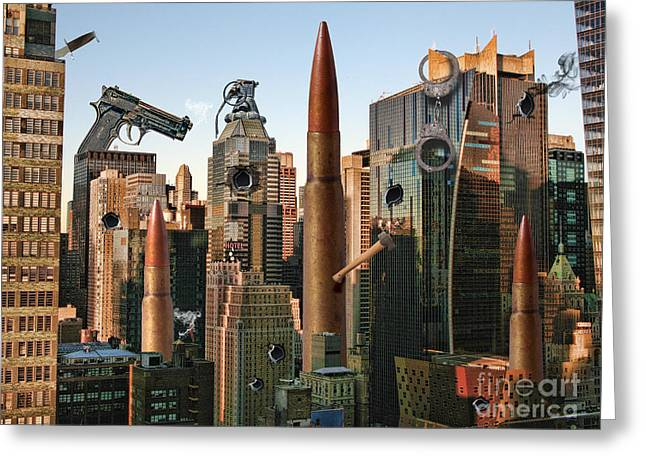 Gun Control Greeting Cards - Big City Guns And Bullets Greeting Card by Mike Agliolo