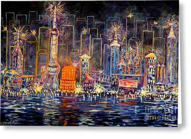 Caroline Street Greeting Cards - Big City Lights Greeting Card by Caroline Street
