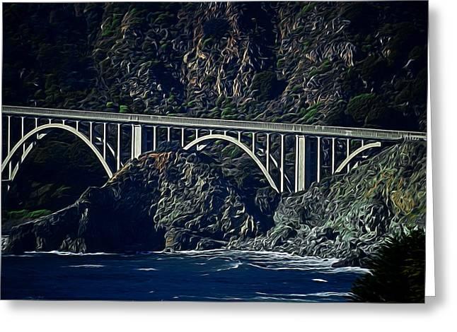 Big Creek Bridge Digital Art Greeting Card by Ernie Echols