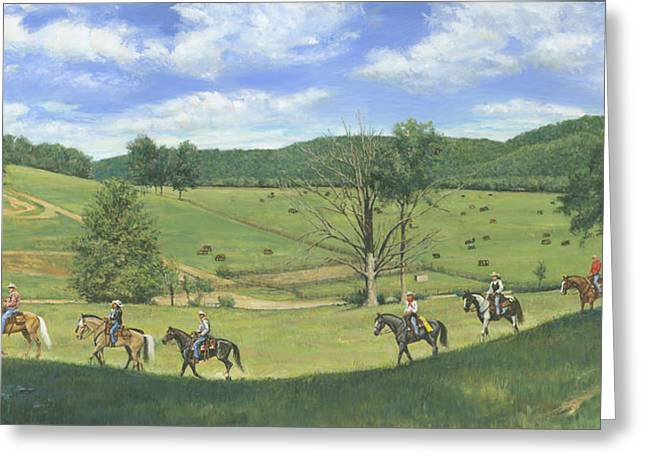 Trail Riding Greeting Cards - Big Creek Trail Ride Greeting Card by Don  Langeneckert