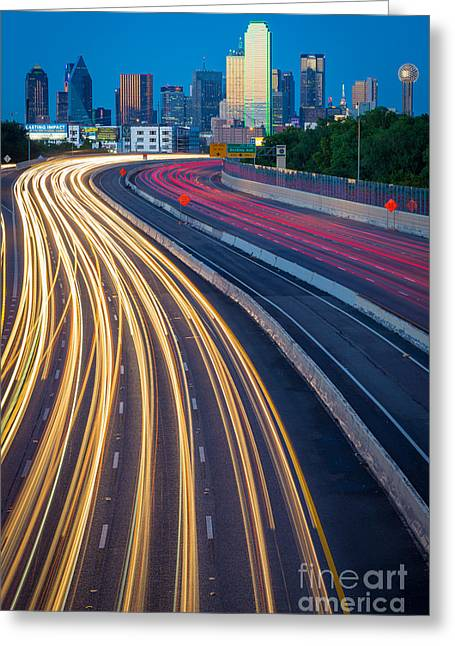 High Rise Greeting Cards - Big D Freeway Greeting Card by Inge Johnsson