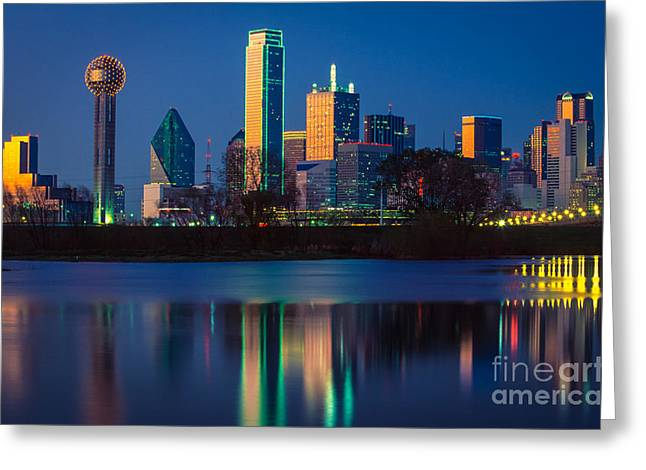 Dallas Photographs Greeting Cards - Big D Reflection Greeting Card by Inge Johnsson