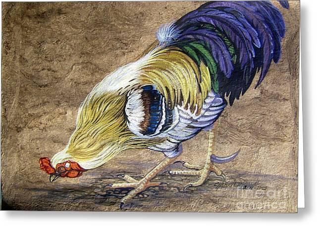 Amate Bark Paper Greeting Cards - Big Daddy Rooster Greeting Card by Anne Shoemaker-Magdaleno