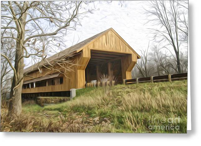 Covered Bridge Greeting Cards - Big Darby Covered Bridge Greeting Card by Brian Mollenkopf