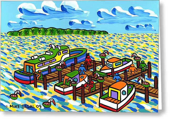 Big Dock - Cedar Key Greeting Card by Mike Segal