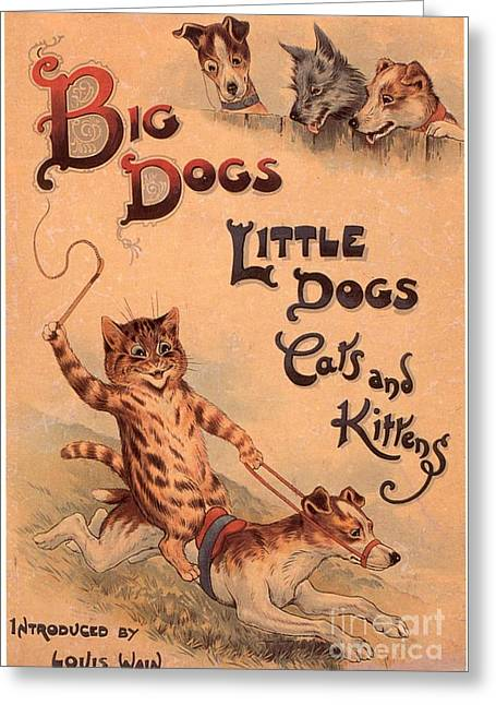 Nineteen-tens Greeting Cards - Big Dogs Little Dogs Cats And Kittens Greeting Card by The Advertising Archives