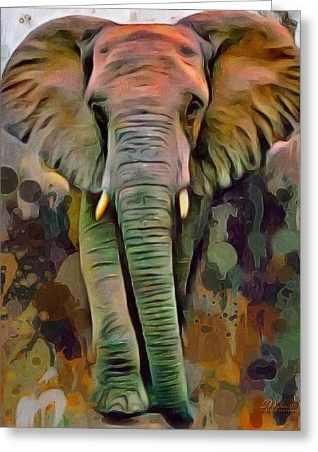 Digital Designs Greeting Cards - Big Ear Elephant  Greeting Card by Scott Wallace