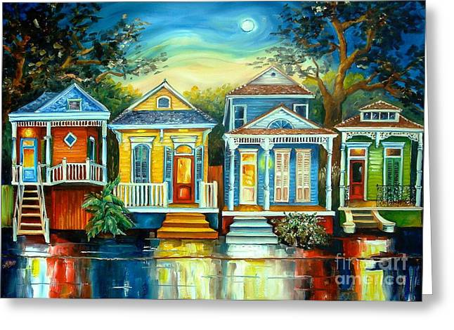 Reflections Paintings Greeting Cards - Big Easy Moon Greeting Card by Diane Millsap