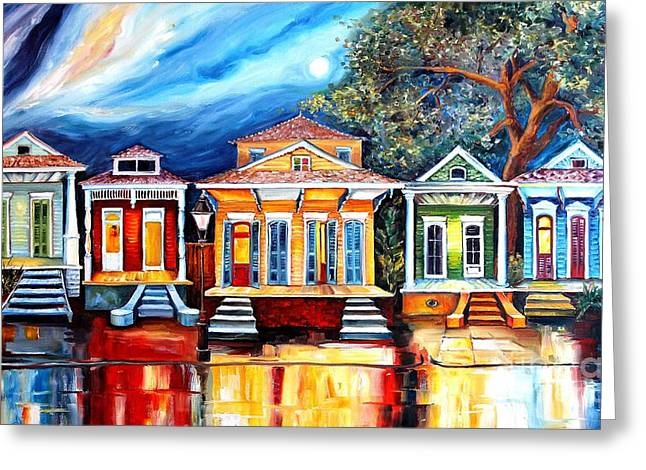 Historical Buildings Greeting Cards - Big Easy Shotguns Greeting Card by Diane Millsap