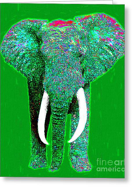 Happy Elephant Greeting Cards - Big Elephant 20130201p128 Greeting Card by Wingsdomain Art and Photography