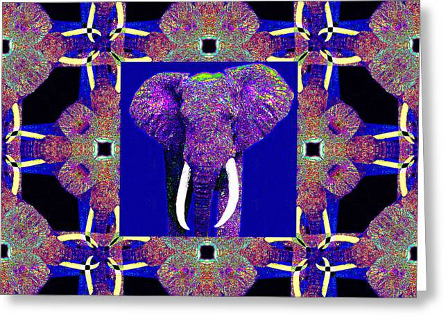 Happy Elephant Greeting Cards - Big Elephant Abstract Window 20130201m118 Greeting Card by Wingsdomain Art and Photography