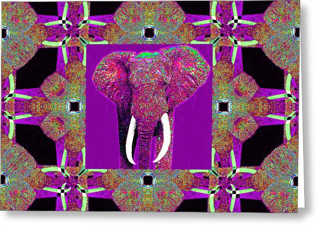 Big Elephant Abstract Window 20130201m68 Greeting Card by Wingsdomain Art and Photography