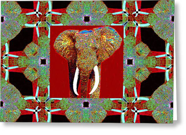 Happy Elephant Greeting Cards - Big Elephant Abstract Window 20130201p0 Greeting Card by Wingsdomain Art and Photography