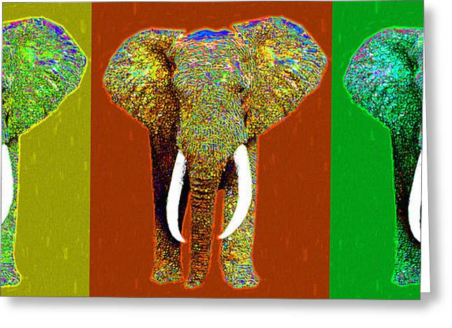 Happy Elephant Greeting Cards - Big Elephant Three 20130201v1 Greeting Card by Wingsdomain Art and Photography
